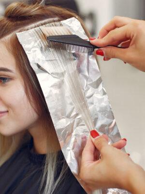 DEKOLOR colored hair her client hair salon scaled